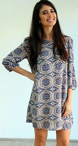 LADIES-DRESS-Silver-Wishes-casual-3-4-Sleeve-Blue-Boho-Size-8-10-12-14-B1-PRT3Q