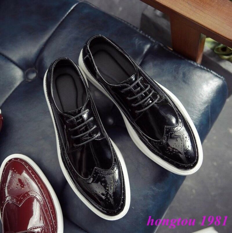 Brogue Mens Carved Wing Tip Lace Up Flat Dress Formal Shorts Creepers Oxfords Sz