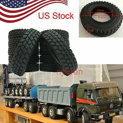 2X Trailer Car Rubber Tires For 1:14 Tamiya Tractor Truck Climbing Trailer J2U5