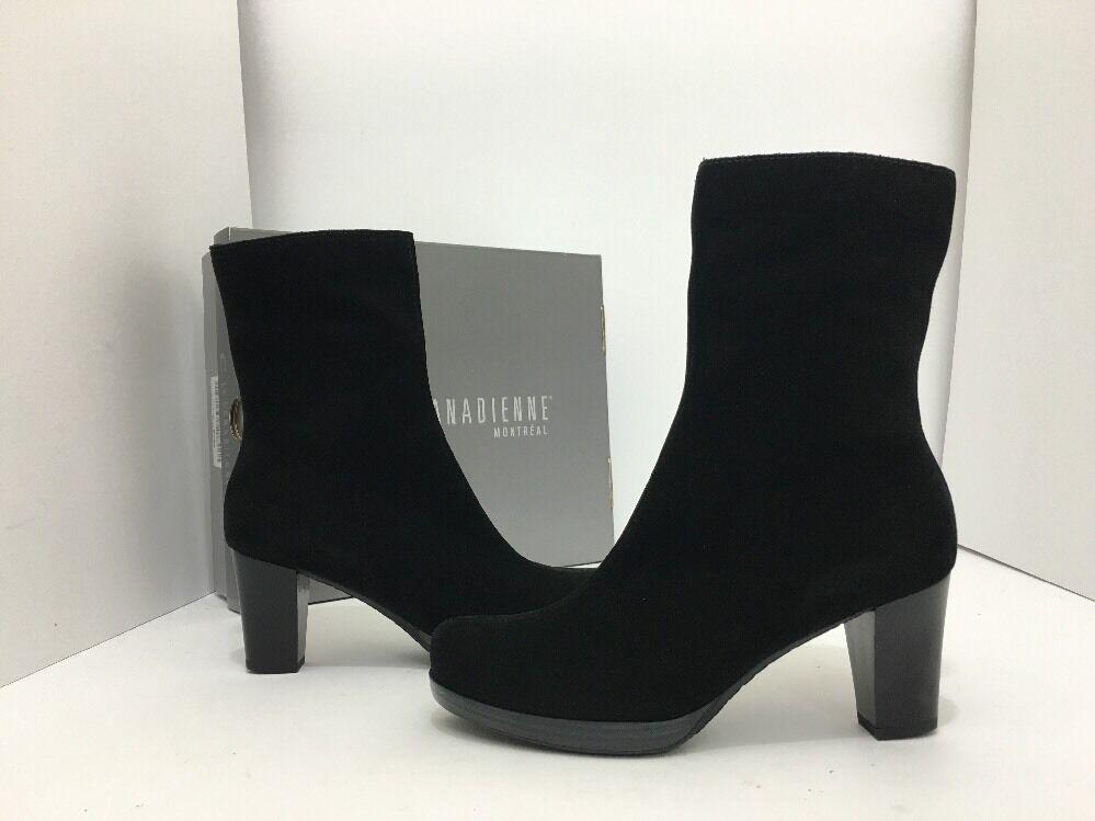 La Canadienne Kate Black Suede Women's Waterproof Short Boots Heels Size US 9 M
