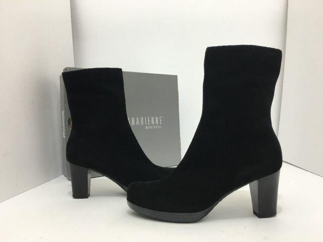 La Canadienne Kate Women s Waterproof Short Boots Heels Black Suede Size US  ... 9c594d8063