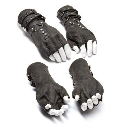 Punk Rave Men Steampunk Fingerless Gloves Military Gothic Rock motocycle gray