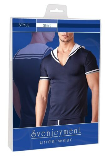 Svenjoyment Mikrofaser Hemd T-Shirt Elastisch Figur betont Matrosenlook in M-2XL