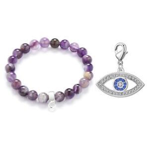 Evil Eye Amethyst Gemstone Charm Bracelet