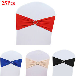 25pcs Spandex Stretch Chair Cover Sashes Bow With Buckle For Wedding Party Decor Ebay