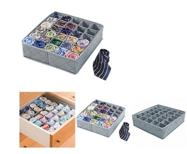 30 Cell Bamboo Charcoal Underwear Ties Drawer Closet Organizer Storage Box SH