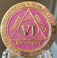 6 Year AA Medallion Lavender Pink Gold Alcoholics Anonymous Sobriety Chip Coin