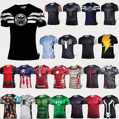 2016 Superhero Compression T-Shirt Mens Boys Under Base Layer Sports Cycling Top