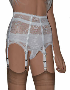 Boned 6 Strap Suspender Belt. All Lace High Waist Garter Belt in ...