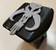 2 inch Trailer Hitch Cover Black with Grey Mandalorian Face in 3D Cool Desig