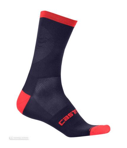 Castelli RUOTA 13 cm Tall Cuff Cyclisme Chaussettes Dark Steel bleu//rouge une paire