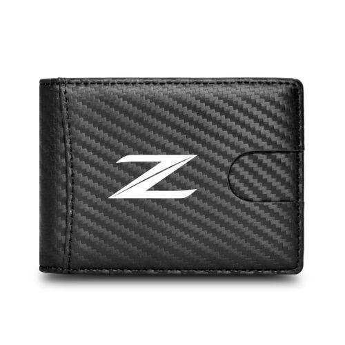 Nissan 370Z Z Logo RFID Blocking Black Real Leather Carbon Fiber Patterns Wallet
