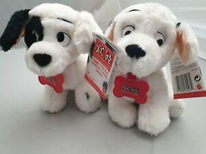 2x-Disney-039-s-101-Dalmatiner-Puppy-Pluesch-Figur-mit-Etikett-Mattel-1995-Huendchen