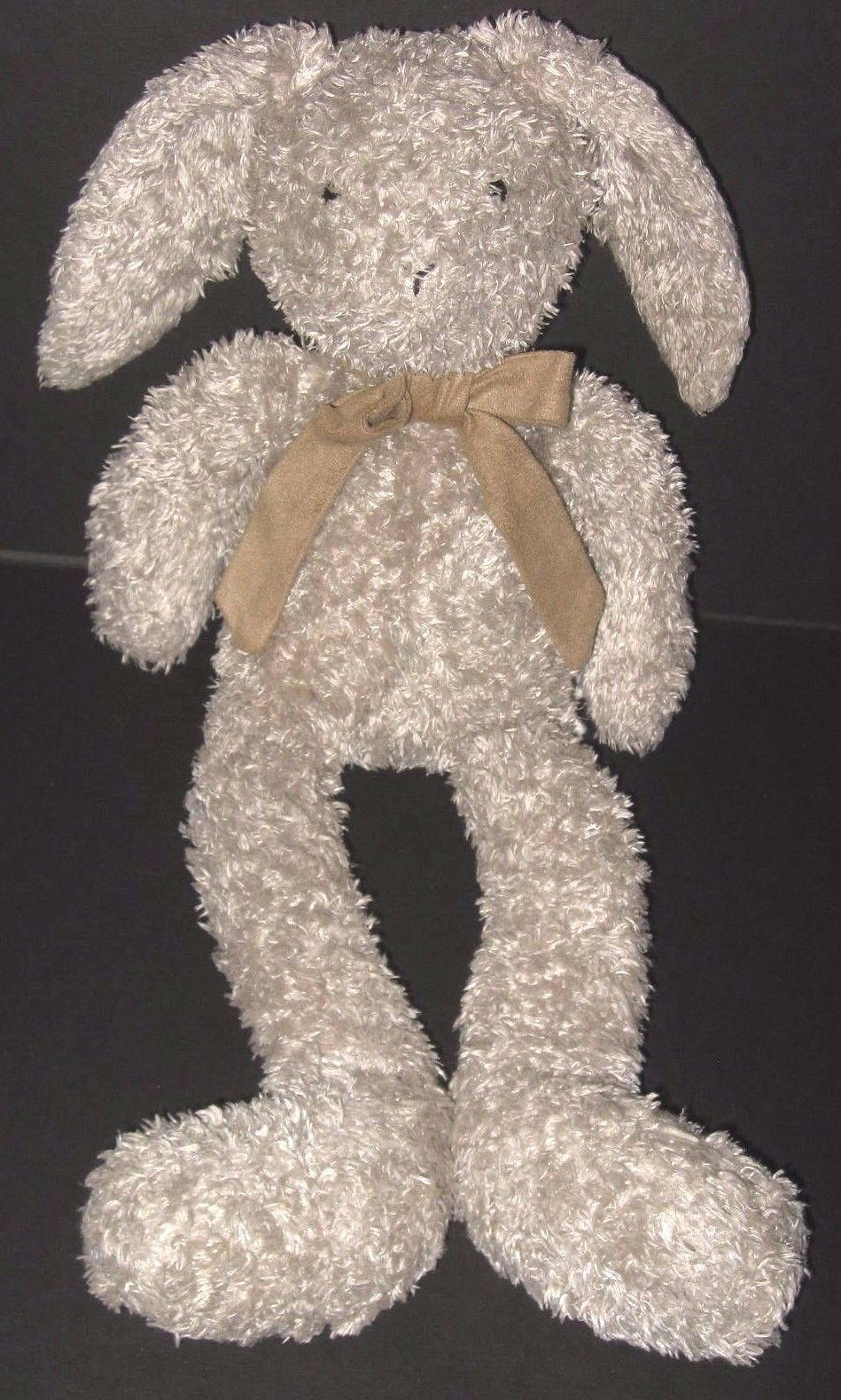 Jellycat Shushky Bunny Rabbit 16  Tan Plush Long Legs Suede Bow Stuffed Animal