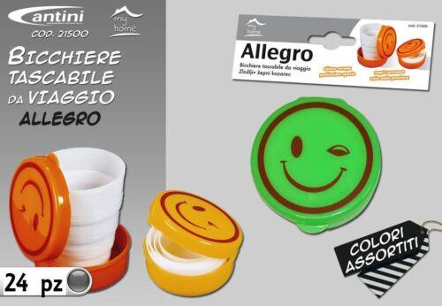 Set 24 Pz Bicchiere Tascabile Richiudibile Allegro Plastica Colorato Scuola hmj