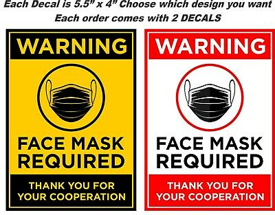 face mask Required Window Stickers 4 Pack Face mask Required Sign 4in x 16in
