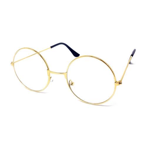 Round Clear Lens Glasses Wizard Metal Frame Lennon Ozzy Novelty Joke Fancy Dress