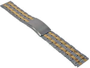 Acero-Inox-Pulsera-de-Reloj-Bicolor-Cinta-Metal-con-Cierre-Desplegable-20-22mm-5