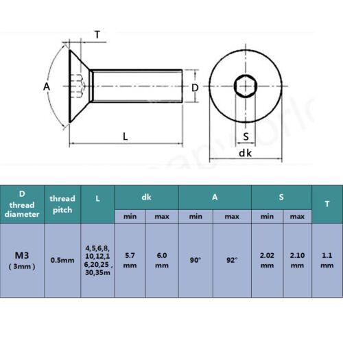 100pcs Stainless Steel Metric M3 Flat Countersunk Head Hex Socket Screw Cap Bolt