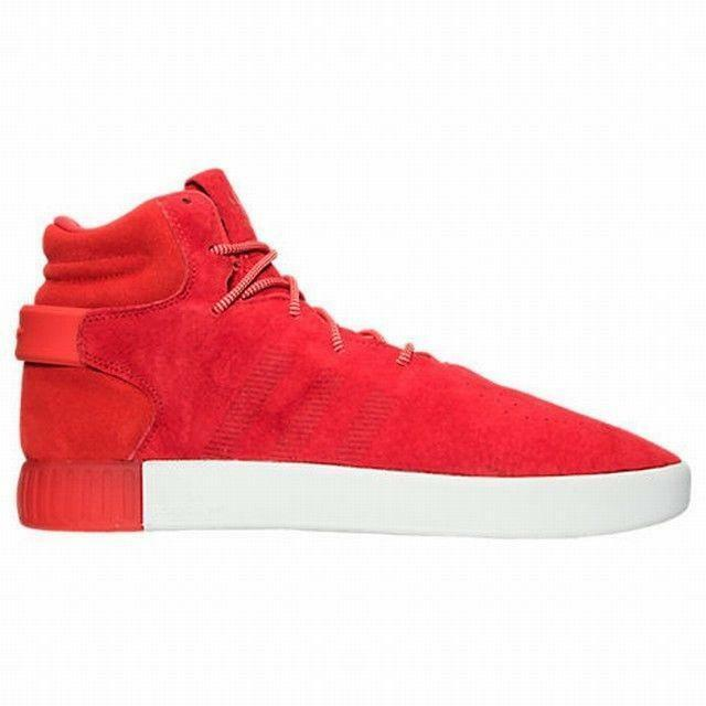 Mens ADIDAS TUBULAR INVADER Red Suede Hi Tops Trainers S80244