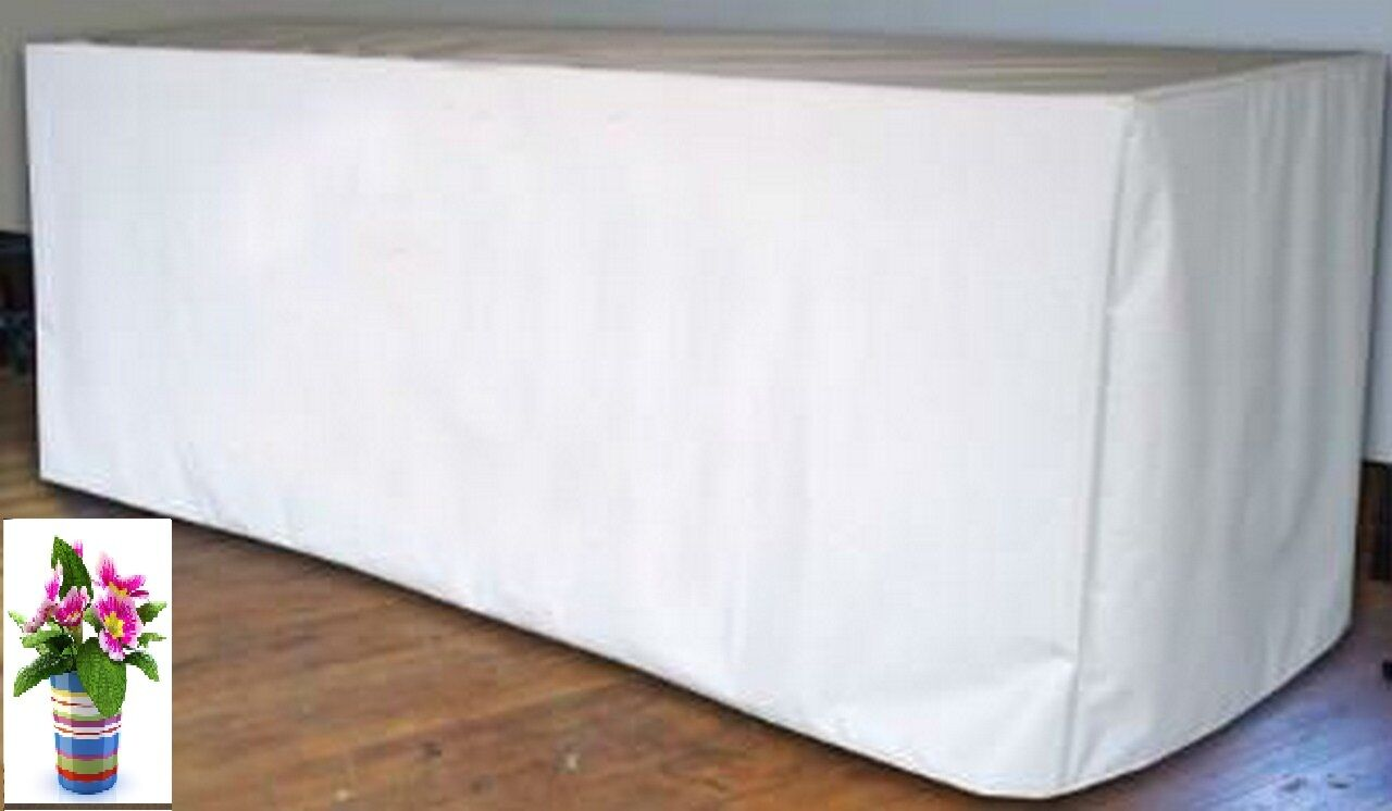 8 x Tablecloths Trestle Table Cloths 4FT FITTED Wedding blanc Rectangle 60 Cm W