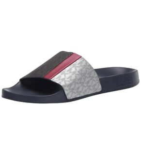 Women-MK-Michael-Kors-Ayla-Flat-Slide-Sandals-Mini-MK-Logo-PVC-Black-Navy-Multi