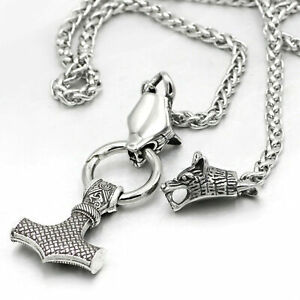 Men-039-s-Gift-Fashion-Silver-Norse-Viking-Wolf-amp-Thor-Hammer-Mjolnir-Pendant-Necklace
