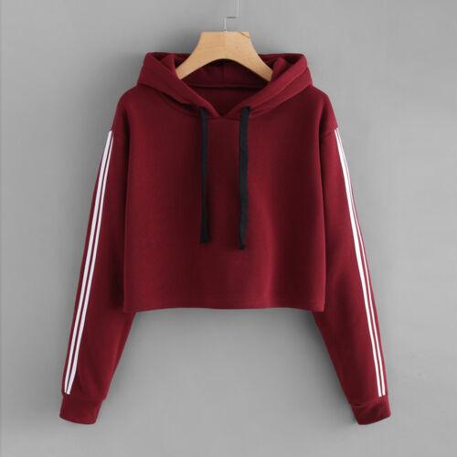 New Sale Women Autumn Hoodie Sweatshirt Jumper Hooded Pullover Short Crop Tops