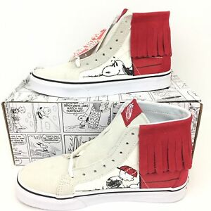 5d30120e7edc1b Vans PEANUTS Snoopy Dog House Bone Charlie Brown Sk8 Hi Moc Red ...