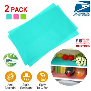 2Pcs Refrigerator Mats Can Be Cut Fridge Pads Anti-Bacterial Waterproof Washable