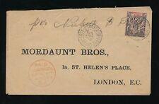 Francés Costa de Marfil 1897 Paz + comercio 25 Centavos a Mordaunt Gb pagado Liverpool Paquete