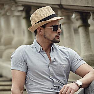 b1b8ddc6d0290 Summer Straw Men s Sun Hats Fedora Trilby Gangster Cap Summer Beach ...