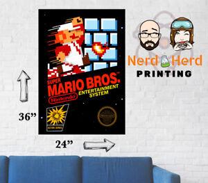 Super Mario Bros Nes Box Art Poster Multiple Sizes 11x17 24x36