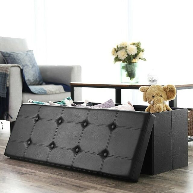 Stupendous Folding Storage Ottoman Faux Leather Bench Large Toy Box Black Bed Window Seat Frankydiablos Diy Chair Ideas Frankydiabloscom
