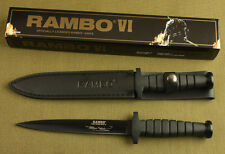"""12""""  Rambo VI 5.5mm Boot Dagger double blade rubber Survival Hunting Knife"""