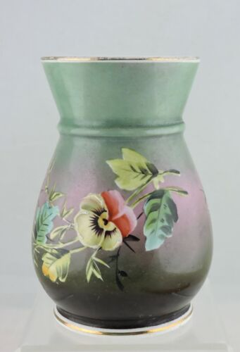 VINTAGE SMALL FLOWER VASE GREEN,HAND PAINTED PANSY FLOWERS GOLD RIMS