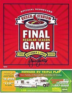 St. Louis Cardinals BRUCE SUTTER Signed FINAL GAME at Busch Stadium SCORECARD b