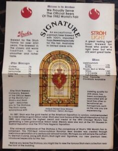 1982-World-039-s-Fair-Knoxville-Tennessee-Strohaus-Menu-Very-Good-Condition-Rare