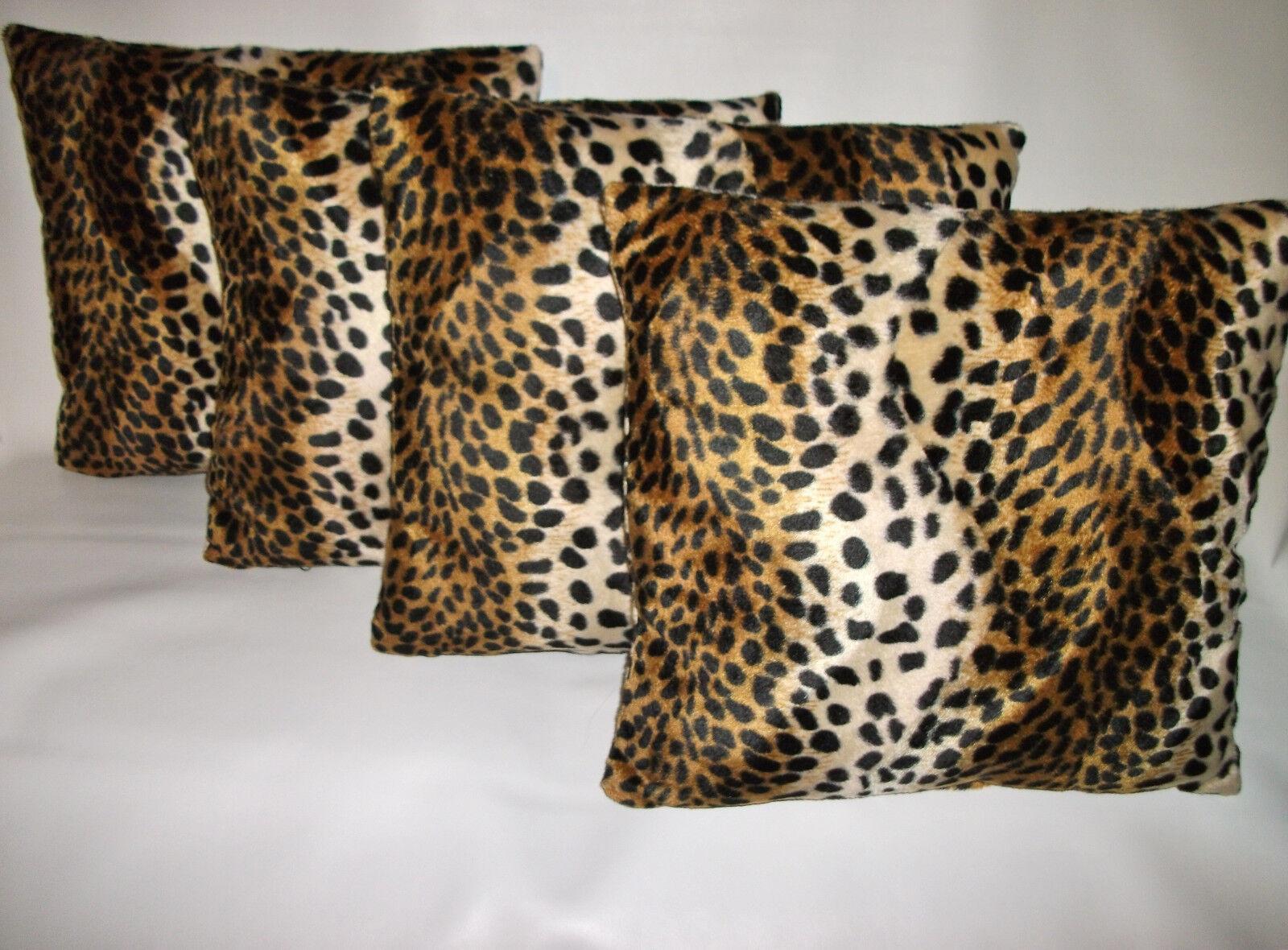 4 in pelliccia sintetica morbida Velboa Leopard Design Copricuscino 16  18  20  Cuscini a Dispersione