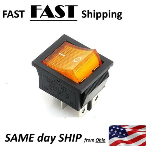 Amber Orange 220vAC 240vAC 250vAC at 16A max - DPST on /& off rocker switch -