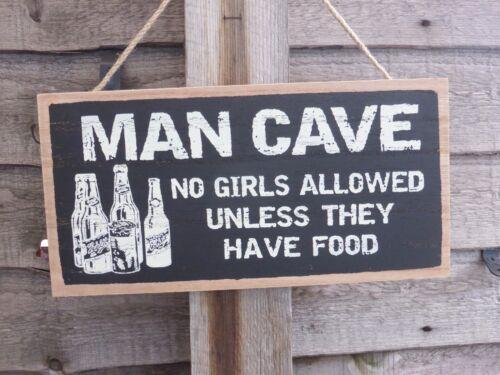 a menos que tengan alimentos ingenioso Placa Colgante Signo De Madera Cueva de hombre sin chicas