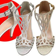 Women Rhinestones Evening Prom Party Wedding Platform Silver Gold High Heels