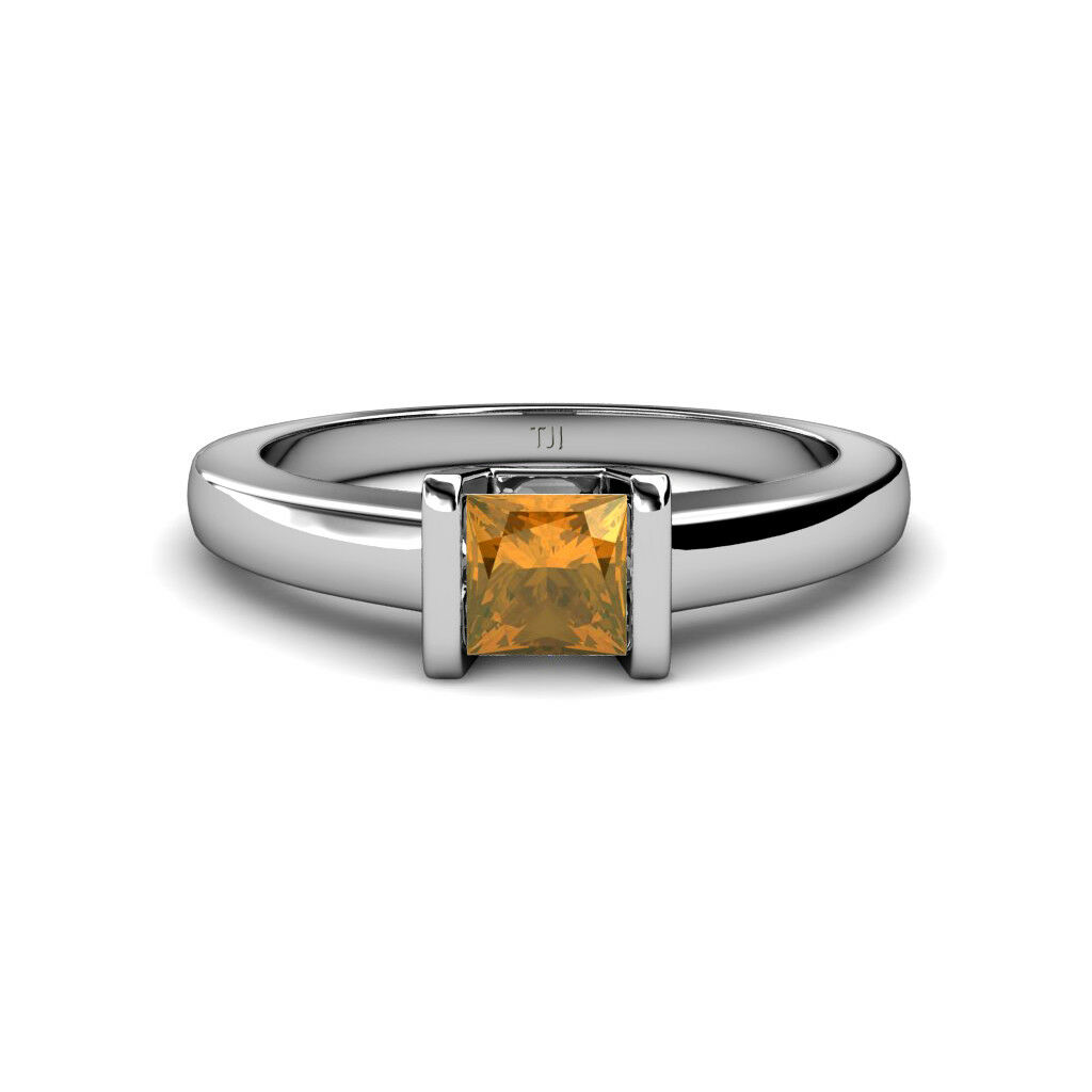 Citrine Channel Set Solitaire Ring 0.85 ct in 14K gold JP 34374