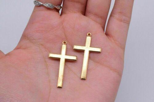 Gold Tone Cross Pendant Charm Jewelry Making 34 x 20 mm Vintage