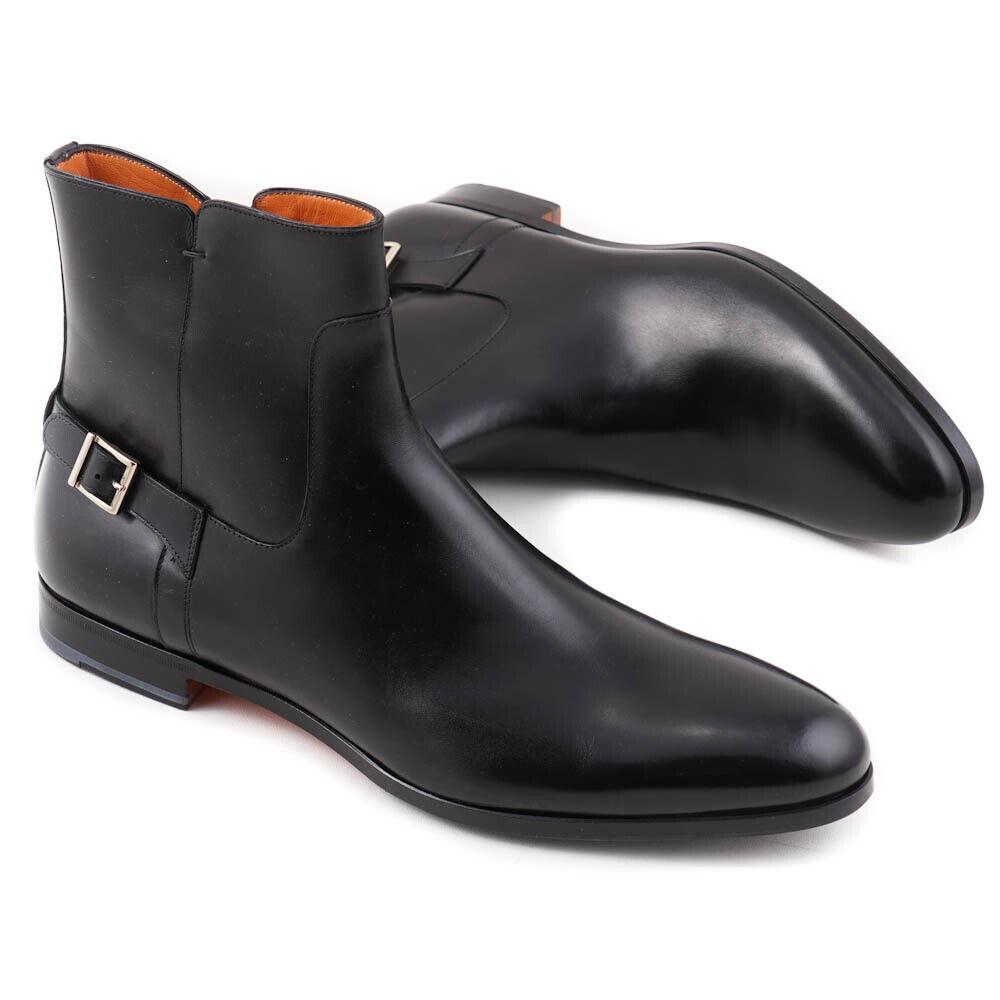 Nuevo En Caja  SANTONI Fatte un Mano Negro Chelsea botas Zapatos con hebilla detalle 10.5