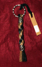 """Braided Horsehair Keychain with Conchos 5"""" Black & Brown FREE SHIPPING #01"""