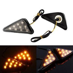 2x-Motorcycle-12V-Euro-Triangle-Flush-Mount-Turn-Signal-Smoke-Amber-LED-Light-AP