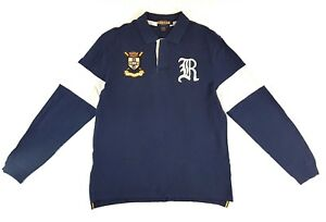 Rugby-Ralph-Lauren-RLRFC-Patch-Gothic-R-Navy-Blue-Long-Sleeve-Polo-Size-L-Mens