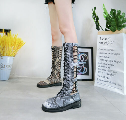 Details about  /Fashion Women Snakeskin Rome Hollow Lace-up Zip Mid-Calf Booties Flat Heel Shoes