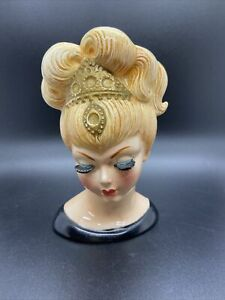 "Gorgeous Vintage 6-1/2"" Lefton Lady Headvase / Head Vase Tiara Missing Jewels"